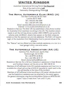 Australian Motoring Roadside Service in UK