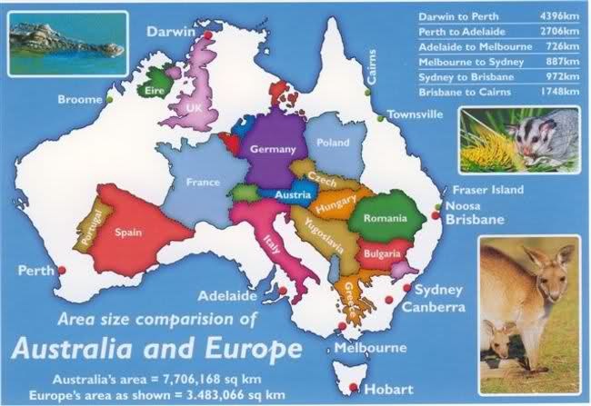 Australia In Size Comparison To Uk And Europe Britzinoz