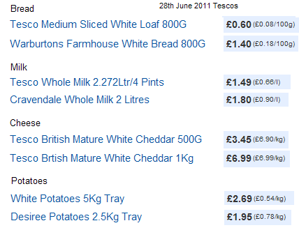 Tesco Food Prices 28 June 2011