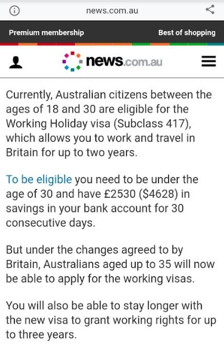 3 Year Visa UK-AUS